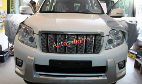 Honeycomb Style Front Grille Grill Mesh Cover Trim For Toyota Land Cruiser Prado Fj150 2014 2015 2016 car styling fit for toyota land cruiser 2016 abs chrome front grille grills cover body strip decoration racing grilles 2pcs