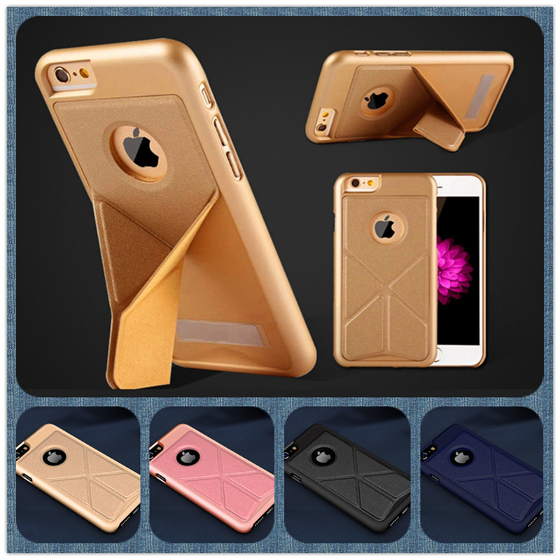 2017 Fold Stand Holder Cases For iphone 5 5S SE 6 6Plus 7 7 Plus Folding Transformer PC+PU Leather Phone Back Cover Capa ZDA007