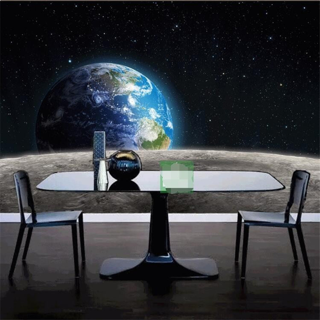 Beibehang Photo Wallpaper Star 3D Universe Earth Moon Made Large Size Living Room Restaurant TV