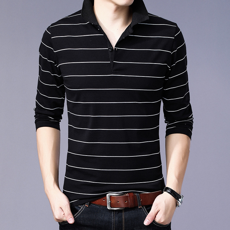 Casual Striped Design 2019   Polo   Shirt Men Plus Asian Size 5XL 4XL 3XL-M Spring Autumn Long Sleeve 95% Cotton