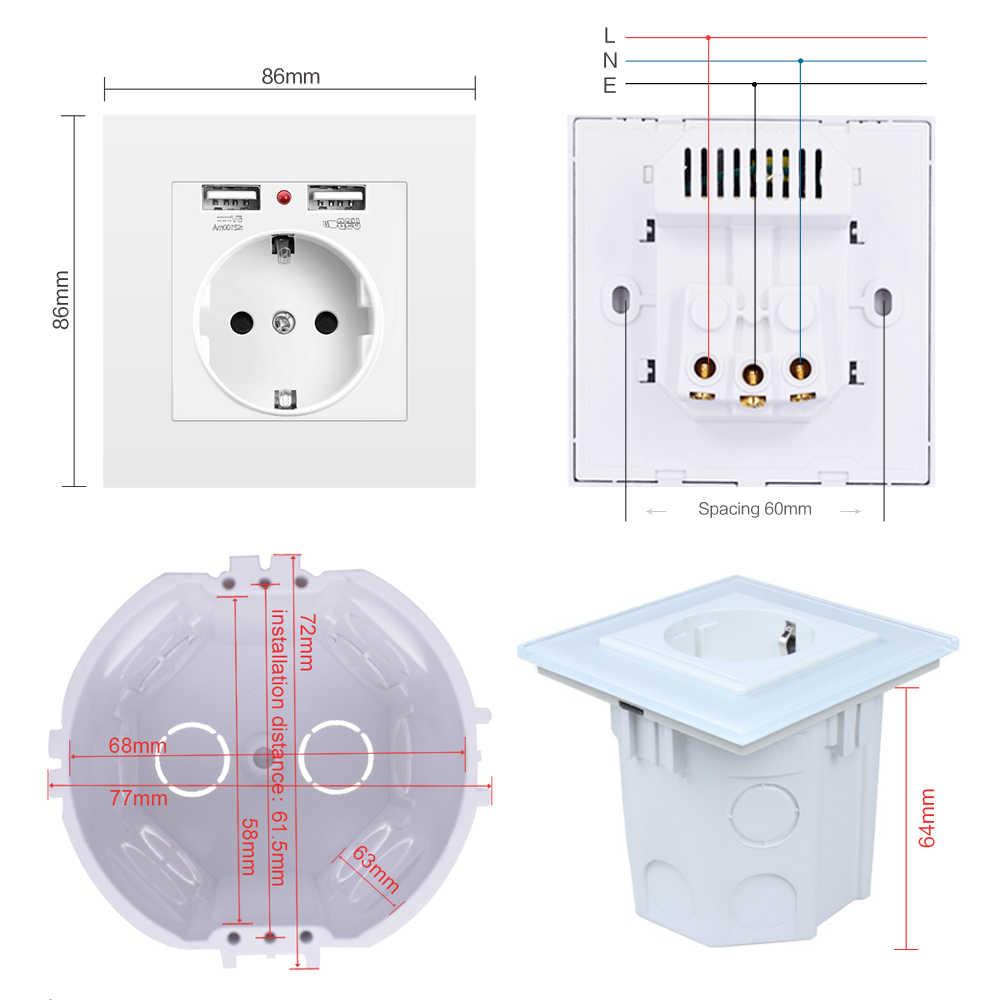 Prise de courant standard de l'ue de prise électronique de mur de SRAN avec la double prise de courant de chargeur de prise d'usb à la maison avec l'usb 86mm * 86mm