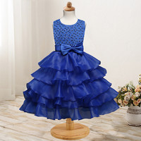 Formal Party Girls Clothing Layer Dress Pearl Bow Pattern Summer Elegant Princess Mesh Layered Tutu Kids