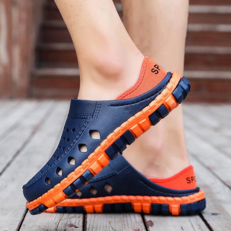 2019 Hohl Sommer Schuhe Männer Hausschuhe Slip Auf Strand Schuhe Herren Sandalen Garten Gelee Schuhe Hohe Qualität Outdoor Sandalen Männlichen Modern Und Elegant In Mode