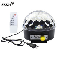 SXZM 6W Magic Ball Rotating Light RGB Stage Effect Light With Remote Controller MP3 USB Disco