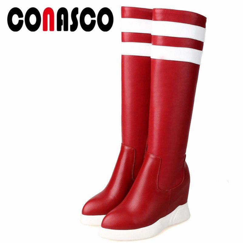 0b305d04 Altas Punta Conasco Casual Fiesta Negro Otoño Mujer Zapatos Cálido Moda  Tacones Redonda Botas Rodilla rojo Genuino 1 Cuero Invierno Altos fXXYrqA
