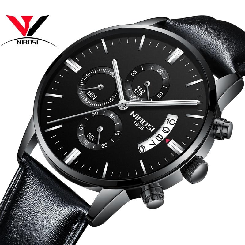 Relogio masculino Esportivo NIBOSI Relógios dos homens Estão Na Moda Com  Pulseira De Couro E Malha de Aço Inoxidável Militar Esporte Saat em Relógios  de ... 6d3dd2d526
