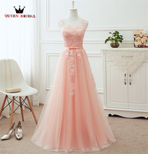 QUEEN BRIDAL Many Colors A line Tulle Lace Long Formal Pink Evening Dresses Vestido De Festa