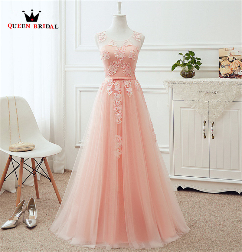 QUEEN BRIDAL Many Colors A line Tulle Lace Long Formal Pink Evening Dresses Vestido De Festa Evening Party Prom Dress Gowns DR12