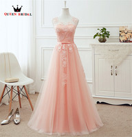 A Line Cap Sleeve Tulle Lace Floor Length Long Elegant Pink Blue Champagne Evening Dresses Vestido