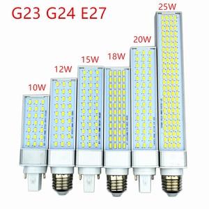 Image 1 - 5 шт./лот g23 g24 e27 Светодиодная лампа 10 Вт 12 Вт 15 Вт 18 Вт 20 Вт 25 Вт 5730 свет теплый белый/холодный белый прожектор горизонтальный штекер света