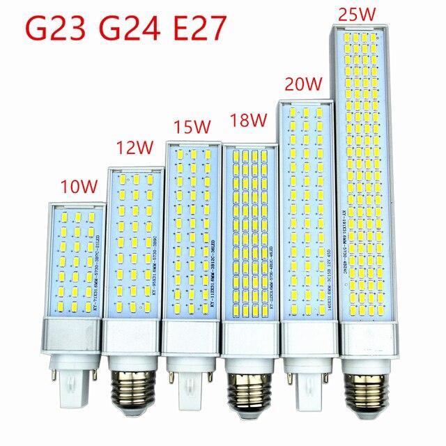 5 шт./лот g23 g24 e27 Светодиодная лампа 10 Вт 12 Вт 15 Вт 18 Вт 20 Вт 25 Вт 5730 свет теплый белый/холодный белый прожектор горизонтальный штекер света