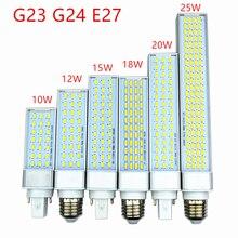 5 teile/los g23 g24 e27 led lampe birne 10W 12W 15W 18W 20W 25W 5730 licht warm weiß/Cool white Spotlight Horizontale Stecker Licht