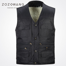 2017 new autumn winter Zozowang solid loose casual vest men fashion brushed keep warm Single Breasted 3XL