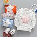 2017 Primavera Otoño Bebé Infantil de Dibujos Animados Ocasional de Cinco puntas estrella graffiti Chicas chicos Algodón de Manga Larga T-shirt Tops S4690