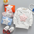 2017 Spring Autumn Casual Baby Infant Cartoon Five-pointed star graffiti Girls boys Cotton Long Sleeve T-shirt Tops S4690