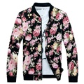Floral Jacket Men Flowers Print Cotton Twill Jackets 2017 New Stand Collar Male Floral Bomber Jackets Free Shipping