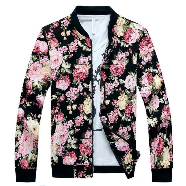 Floral Jacket Men Flowers Print Cotton Twill Jackets 2017 New ...