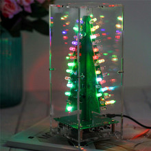 DIY ערכת RGB פלאש LED מעגל ערכת צבעוני 3D עצי חג המולד ערכת MP3 מוסיקה תיבת עם מעטפת חג המולד מתנה אלקטרוני כיף לחתן