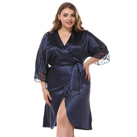 One Size Women Robe Sexy Sleepwear Rayon Summer Kimono Bathrobe Lace Trim Nightwear Nightgown Casual Home Clothes Negligee