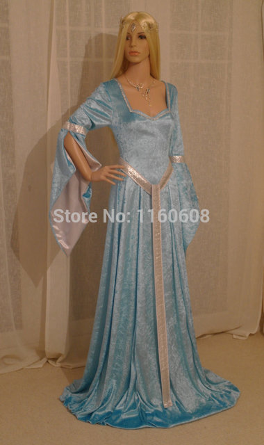 Fabulous Elven Style Gown ELVEN DRESS Medieval Renaissance Fairy Satin Dress  Custom Made All Size 05cdc25b06af