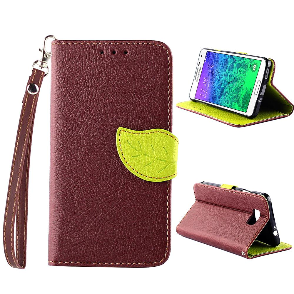 For Samsung Alpha G850 Leather Case Leaf Buckle Litchi Galaxy Wallet Phone Free Shipping