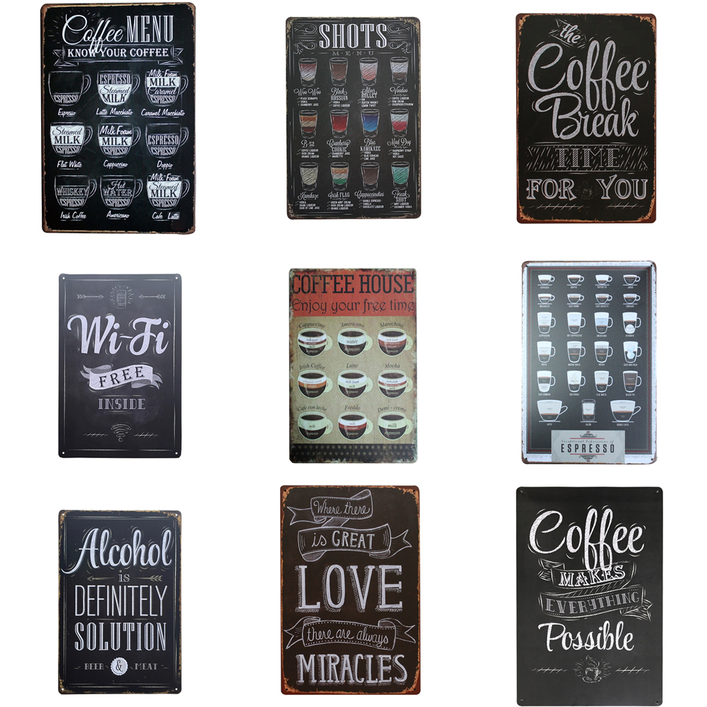 Koffie Menu Voor Cafe Bar Pub Wand Decor Metalen Bord Vintage Interieur Tin Borden Metalen Plaque Retro Plaat Shots Metalen Poster A751