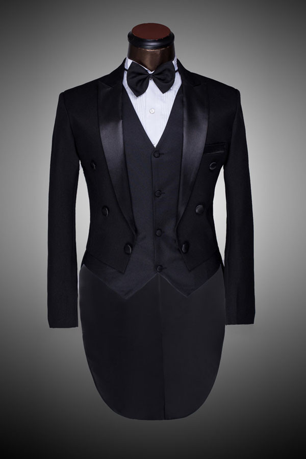Online Shop FOLOBE Ternos Masculino Custom Made Black Mens Double ...