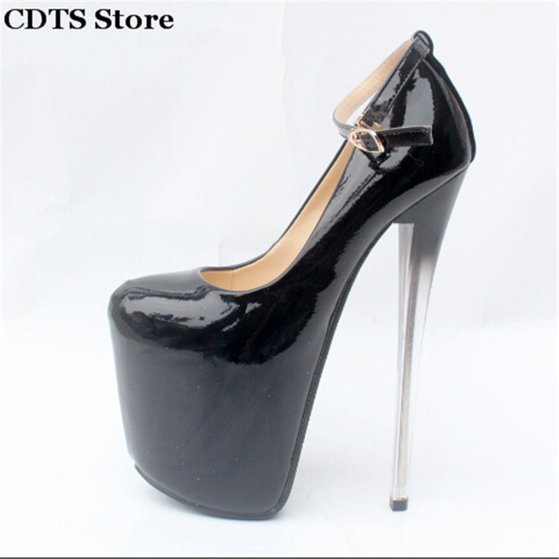 ФОТО Crossdresser Plus size:34-43 Spring/Autumn Nude 19cm thin high heels sexy Round Toe red bottoms club pumps women's wedding shoes