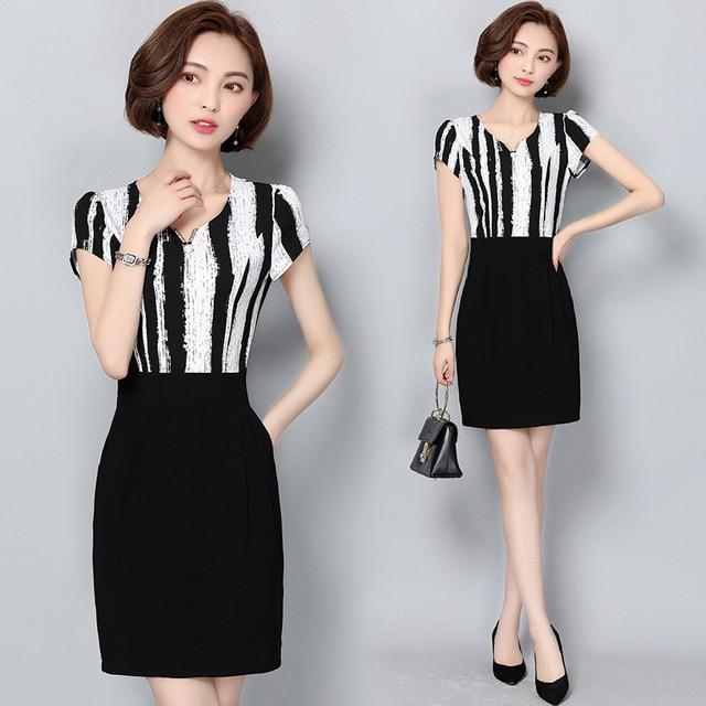 30 40 Year Old Middle Aged Woman Chiffon Dress Summer Fashion Slim