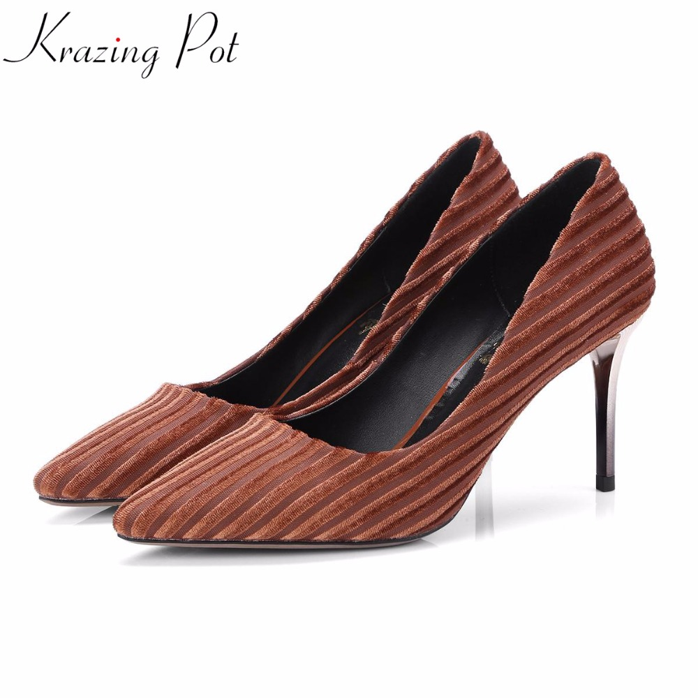 KRAZING POT 2018 velvet shoes original design thin high heels shallow women summer pumps pointed toe large size brand shoes L0f1 genuine large size single toe head high heels shallow mouth thin heel velvet shoes woman star with w824