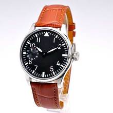 цена на 44mm Parnis Black dial Leather strap Luminous Hands SS Case 17 jewels 6497 movement Hand Winding Mechanical men's Wristwatches