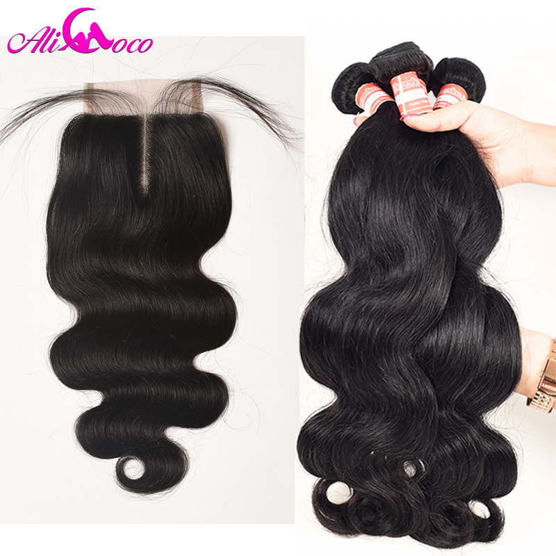 Ali Coco Peruvian Body Wave With Lace Closure 4x4 Human Hair 3 Bundles With Closure Free