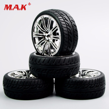 4Pcs/Set 1/10 Scale Tires and Wheel Rims with 6mm Offset fit RC On-Road Racing Car Accessories Parts