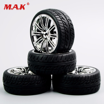 4Pcs/Set 1/10 Scale Tires and Wheel Rims with 6mm Offset fit RC On-Road Racing Car Accessories and Parts image