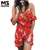 Mooishe Summer Women Dress Strapless Deep V Neck Cascading Ruffles Off Shoulder Red Floral Print Irregular