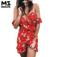 Mooishe Summer Women Dress Strapless Deep V Neck Cascading Ruffles Off Shoulder Red Floral Print Irregular