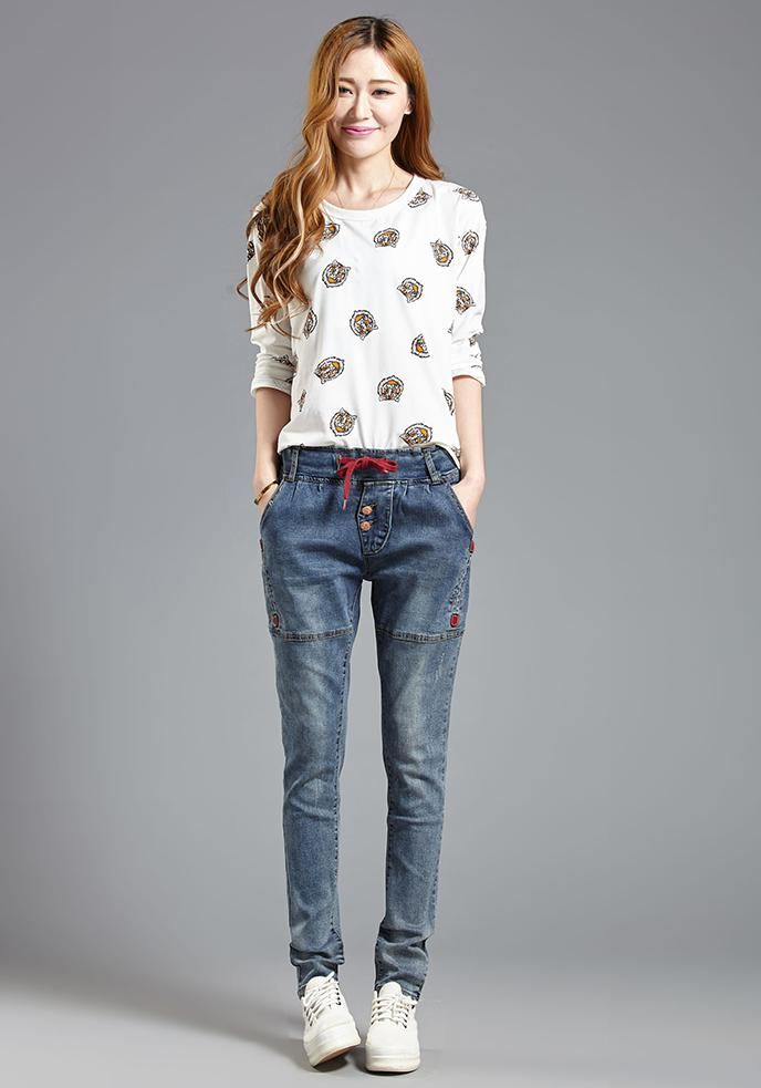 New Spring Haren Trousers  Female Loose Skinny Women Stretch Long Ripped High Waisted Jeans GY8660