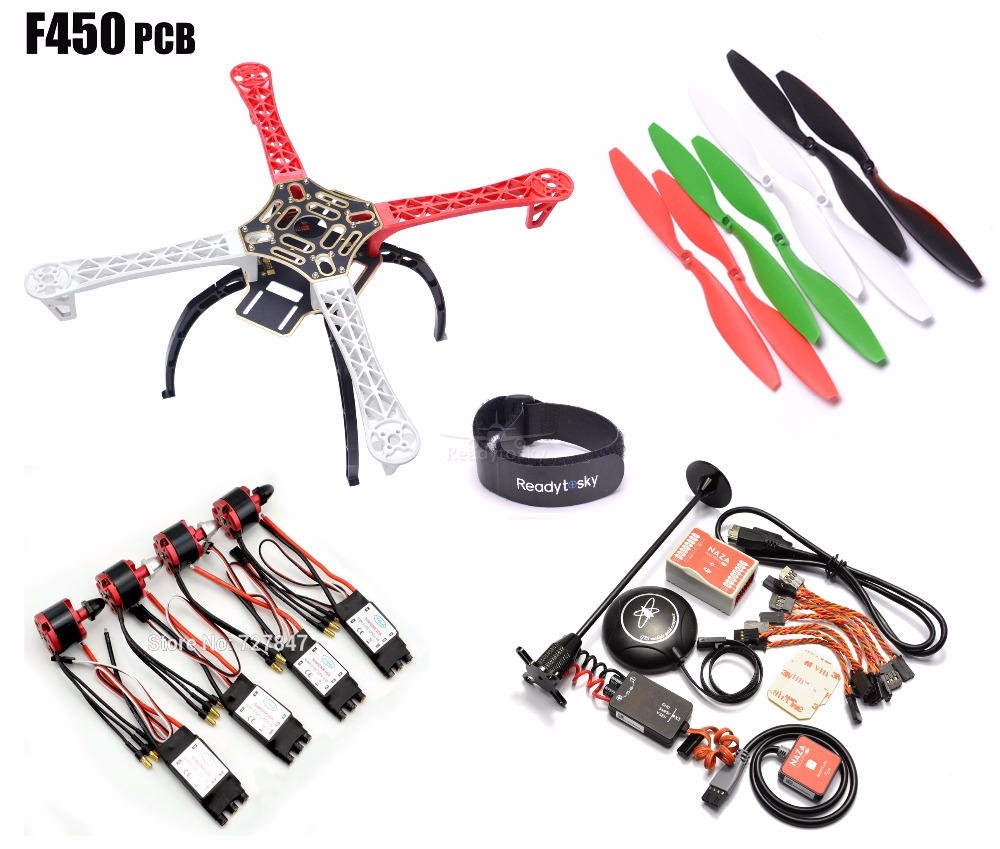 F450 450mm PCB Version Quadcopter Rack Frame Kit + Naza M Lite Flight Controller Board & M8N GPS 2212 920KV Motor 30a Simonk esc original naza gps for naza m v2 flight controller with antenna stand holder free shipping