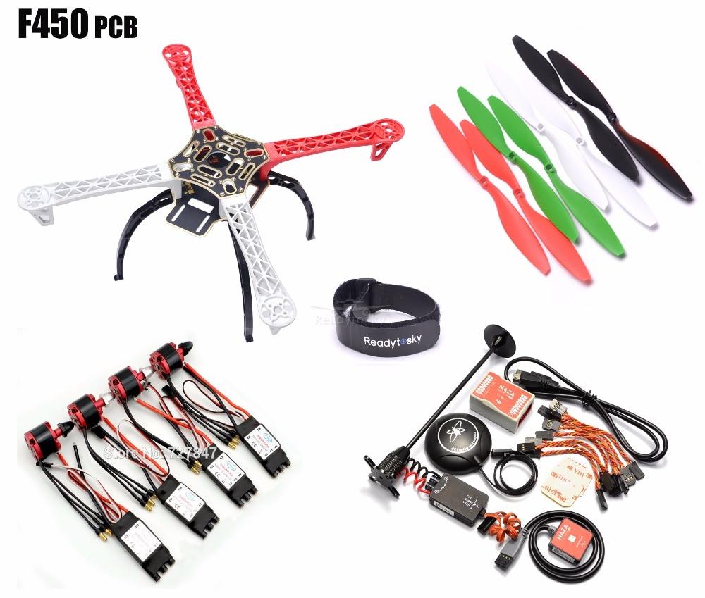 F450 450mm PCB Version Quadcopter Rack Frame Kit + Naza M Lite Flight Controller Board & M8N GPS 2212 920KV Motor 30a Simonk esc dji naza m v2 multi rotor flight stabilization controller with gps