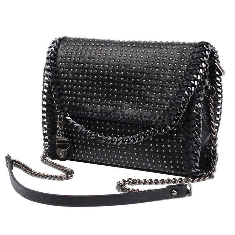 Fashion Women Messenger Bag Rivet Clutch Pack Female Shoulder Bag PU Handbag Chains Crossbody bags Black Luxury Evening Bags female brand design women bag fashion rivet messenger bags solid pu leather clutch bag vintage crossbody bag punk women handbag