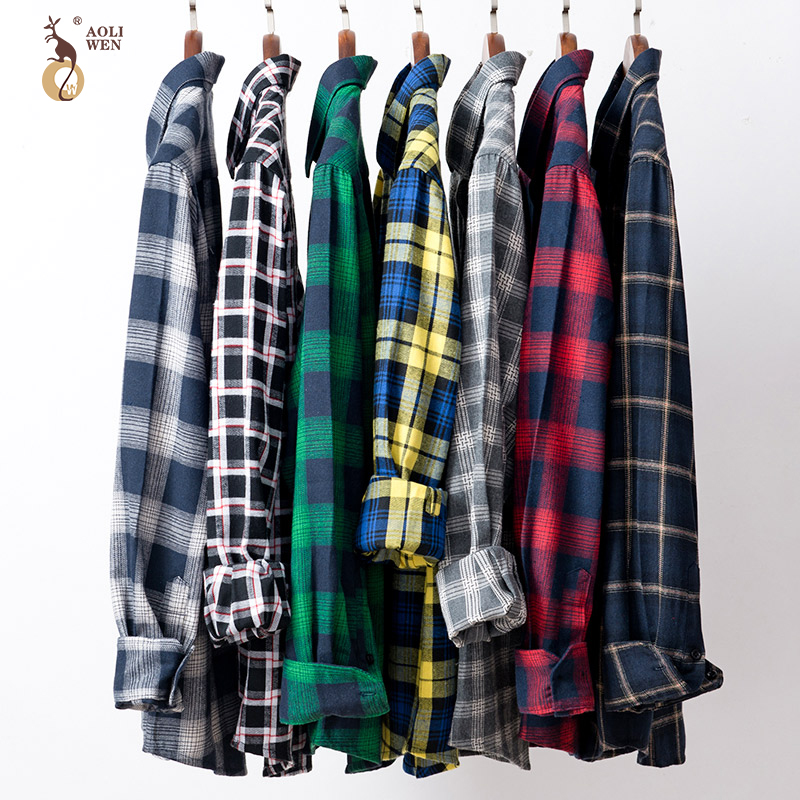 AOLIWEN Plaid Casual shirt Long sleeve Brand men's shirt Cotton spring Summer Fashion casual sizeM-5XL High quality comfort