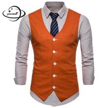 Yauamdb мужские костюмные жилеты весна осень M-4XL хлопковый Блейзер одежда жилет красочные v-образным вырезом модная мужская верхняя одежда Y59