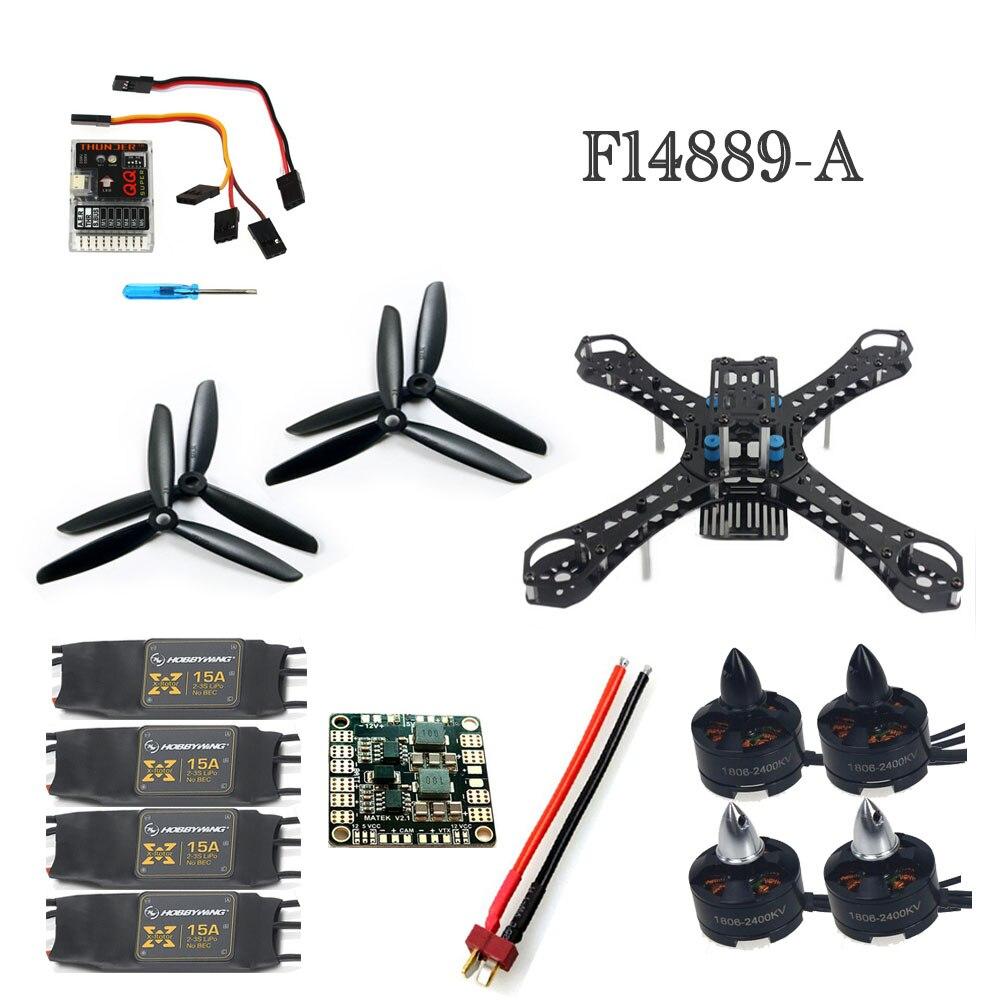 ФОТО F14889-A Mini 250 RC Quadcopter ARF DIY FPV Alien Across Set QQSuper Flight Control 15A ESC 1806 2400KV CW CCW Motor