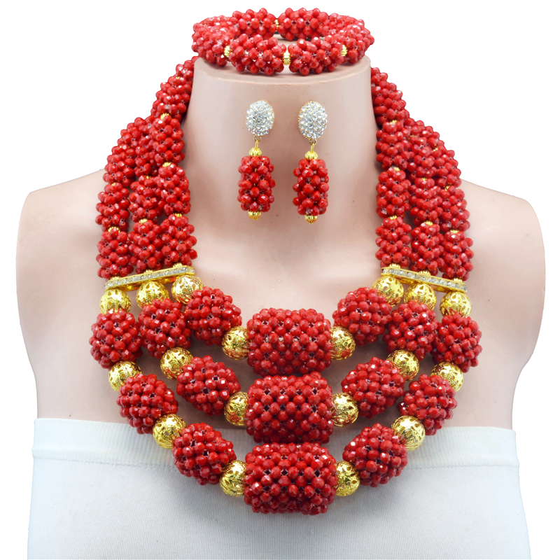 Bridal Gift Nigerian Wedding African Beads Jewelry Set Fashion Dubai Crystal Jewelry Set Costume Design Red Necklace SetsBridal Gift Nigerian Wedding African Beads Jewelry Set Fashion Dubai Crystal Jewelry Set Costume Design Red Necklace Sets