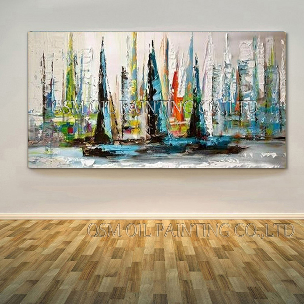 Excellent artist handmade abstract wall art picture for living room textured knife painting modern abstract boat oil painting