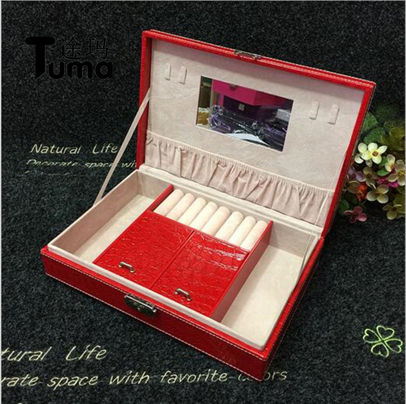 Tuma Large Square Leather Jewelry Box With Lock Wholesale And Retail Fashion Woman First Choice Jewel Case Free Shipping