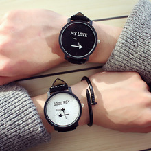 New arrival fashion couple watches black and white simple ca