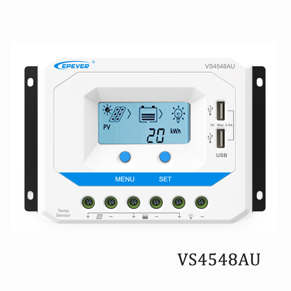 PWM Solar Charge Controller 45A VS4548AU 12V 24V 36V 48V EPSolar Regulator LCD Backlight 5V Mobile phone chargerPWM Solar Charge Controller 45A VS4548AU 12V 24V 36V 48V EPSolar Regulator LCD Backlight 5V Mobile phone charger