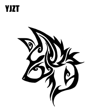 YJZT 14.1CM*16.9CM Wolf Head Personality Decor Vinyl Decal Bumper Car Sticker Black/Silver C4-1170 image