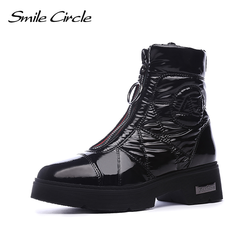 Image 2 - 2019 Winter boots Women Snow Boots Warm down shoes easy wear girl white Black zip Flat platform shoes Chunky Boots Smile Circle-in Mid-Calf Boots from Shoes